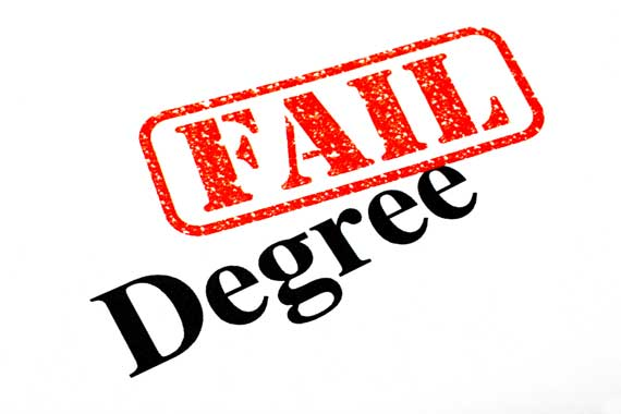 Red fail stamp on a degree