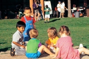Children play at the annual Acadia Park summer barbecue, UBC.
