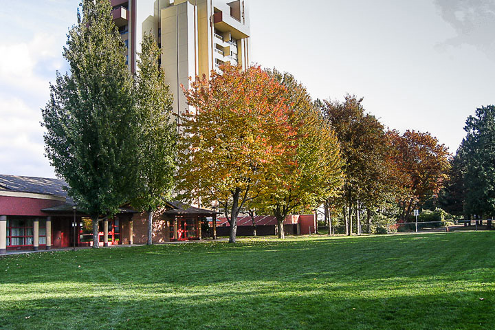 Exterior view of Acadia Park residence, UBC.