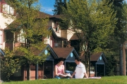 UBC residents sit and read on grassy knoll at Fairview Crescent residence.