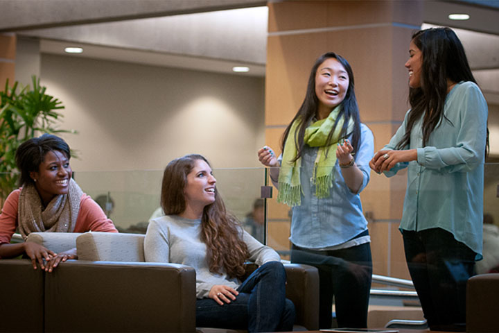 UBC residents gather in the Walter Gage Fireside Lounge.