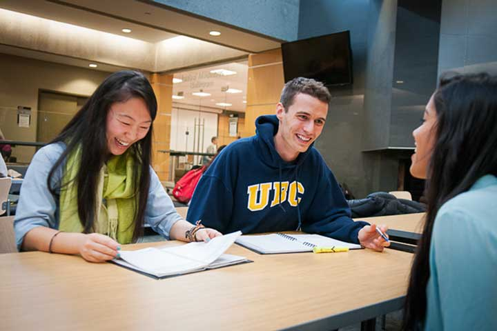 Residents meet to study and socialize in the Walter Gage Fireside Lounge, UBC.