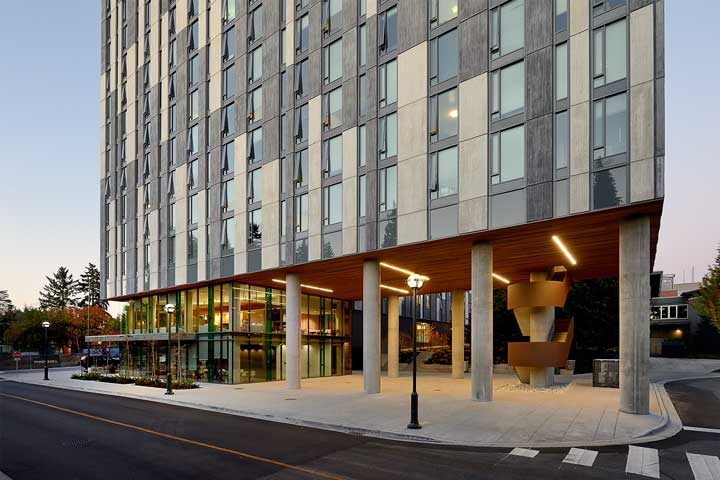 Exterior view and entryway to Ponderosa Commons UBC.
