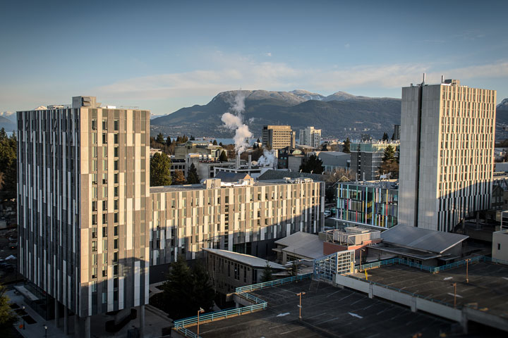 An aerial view of Ponderosa Commons residence, UBC.