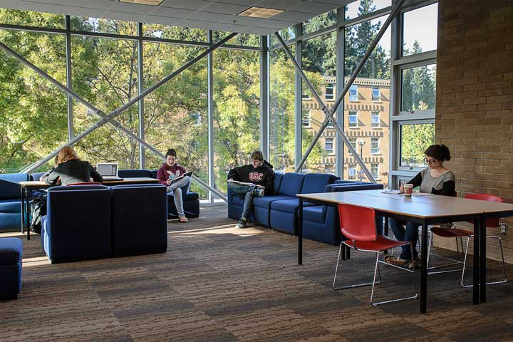 UBC Place Vanier study lounge.