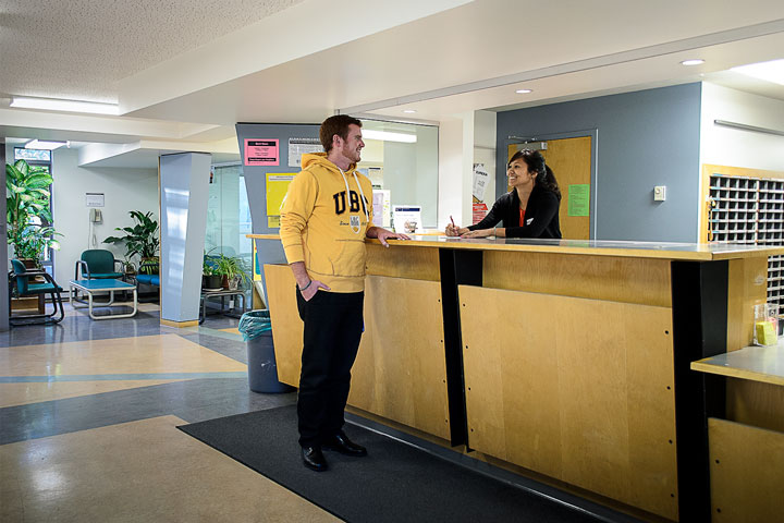 UBC Thunderbird residence Front Desk, open Monday to Friday.