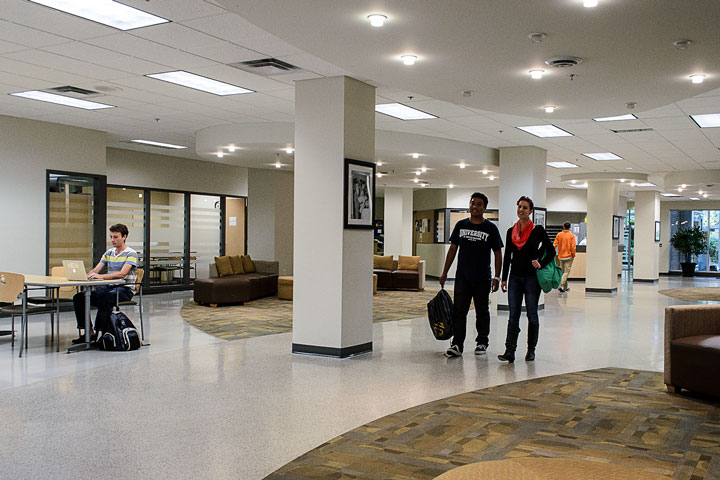 Residents walk through the spacious Totem Park Commonsblock, UBC.