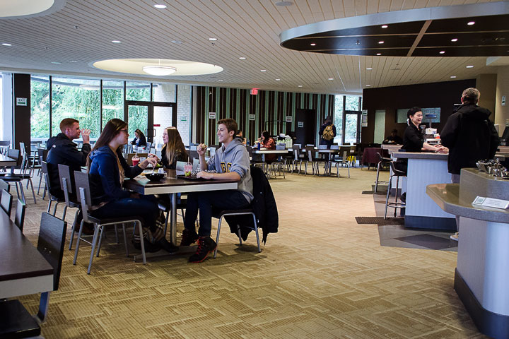Residents gather for lunch at the Totem Park dining hall, UBC.