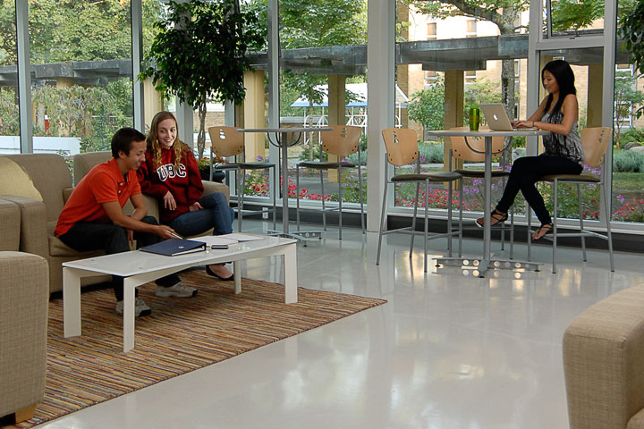 Residents gather to study in a common area at Totem Park, UBC.