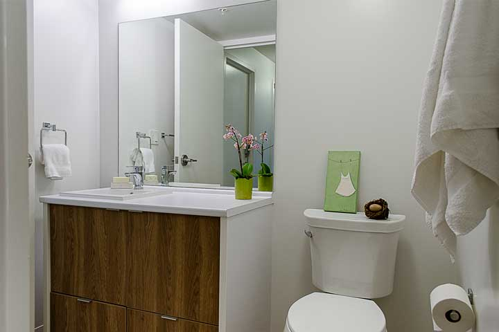 Modern bathroom space at Ponderosa Commons, UBC.