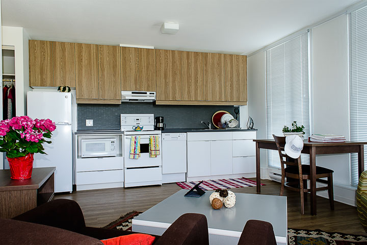 Living room and kitchen, Ponderosa Commons residence, UBC.
