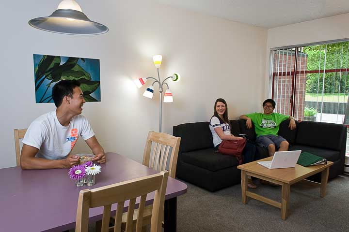Living and dining area at UBC Fairview Crescent residence.