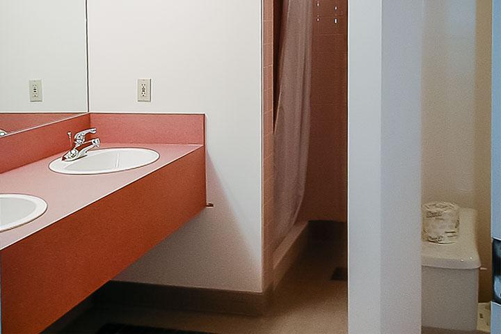 Shared bathroom at UBC Walter Gage residence.