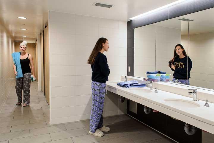 Single gender communal bathroom at Totem Park, UBC.