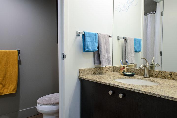 Bathroom area in a UBC Walter Gage residence studio.
