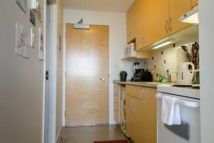 Studio kitchen area at UBC Marine Drive residence.