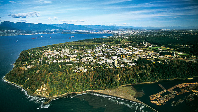 Aerial view of UBC campus.