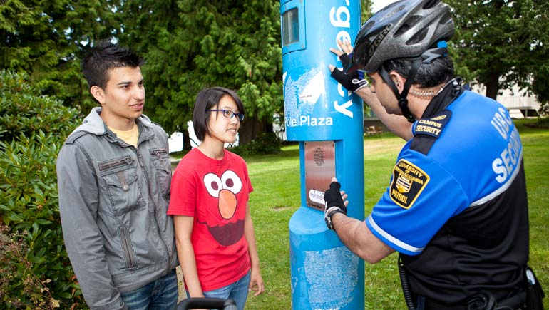 UBC Security demonstrates use of Emergency Blue Phones