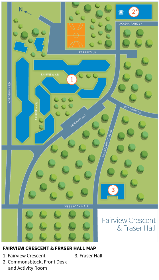 Map of Fairview Crescent and Fraser Hall