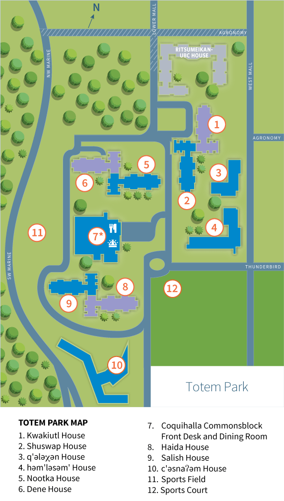 Totem Park Student Residence Map