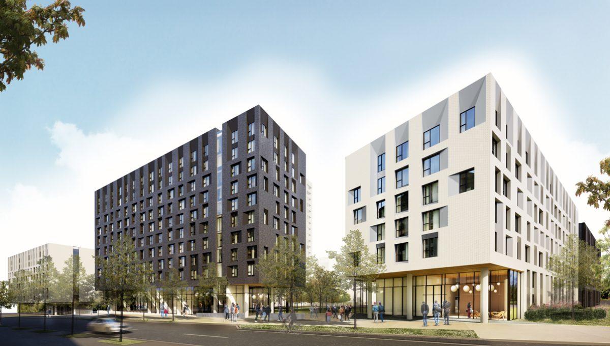 Architectural Rendering of tə šxʷhəleləm̓s tə k̓ʷaƛ̓kʷəʔaʔɬ (View along Student Union Blvd)