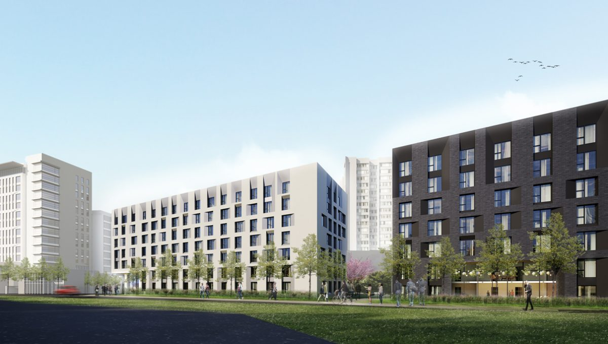 Architectural Rendering of Pacific Residence (View along Wesbrook Mall)