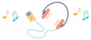 Illustration of retro iPod and headphones