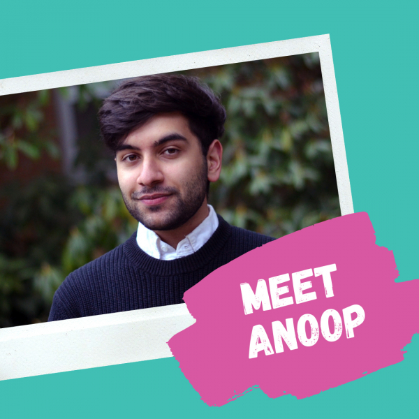 "Photo of Anoop, Ponderosa Commons RA with text ""Meet Anoop"""