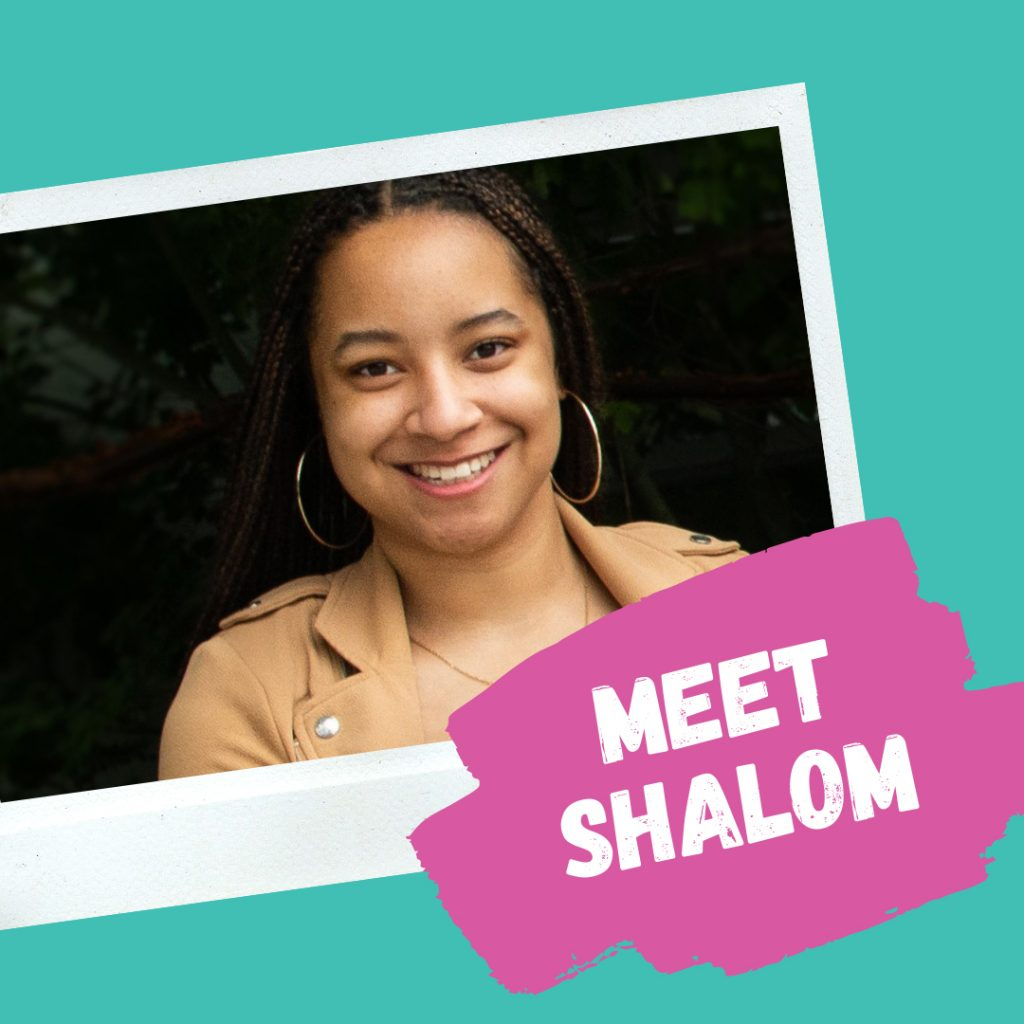 "Photo of Shalom, Marine Drive RA, with text ""Meet Shalom"""