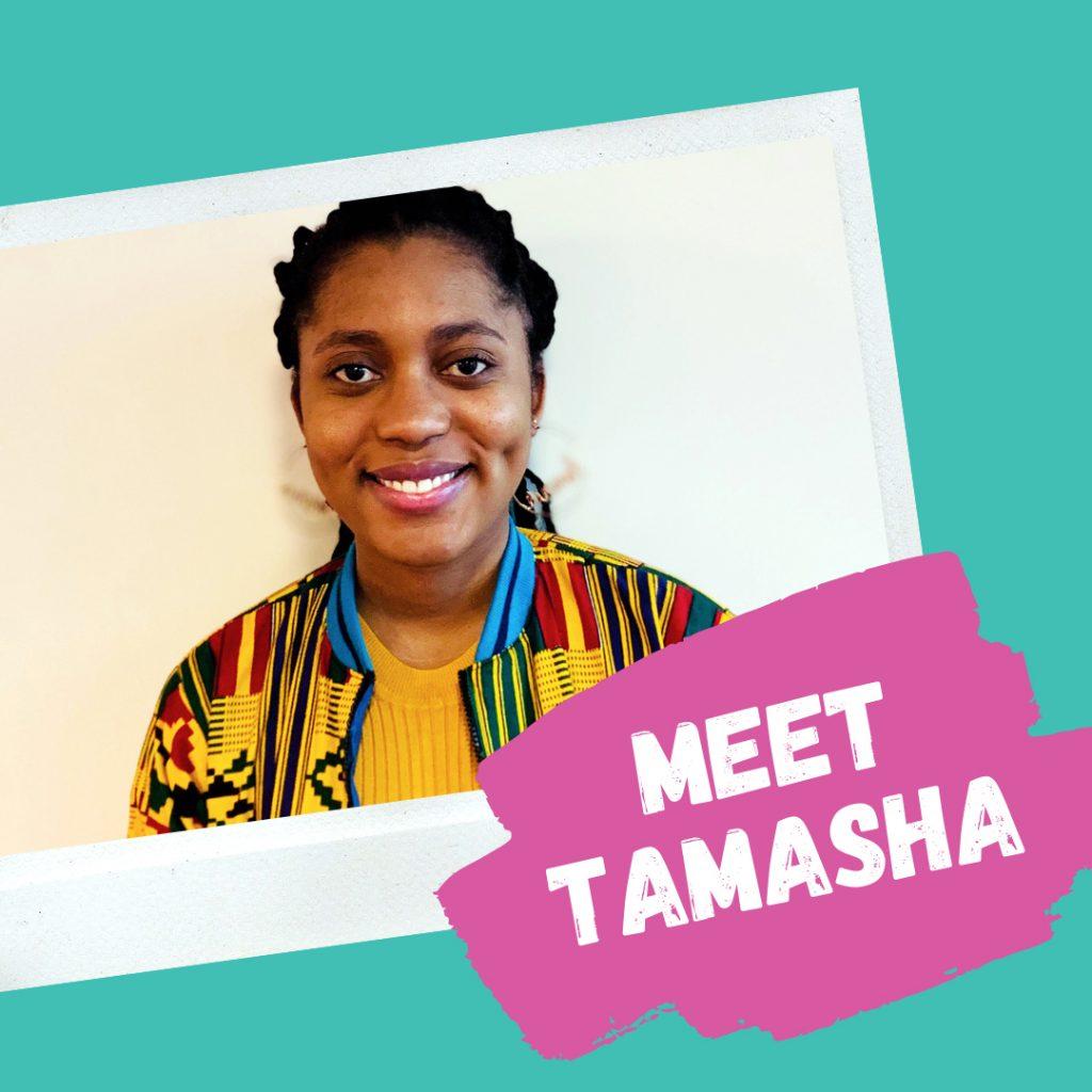 """Photo of Tamasha, Exchange RA, with text """"Meet Tamasha"""""""